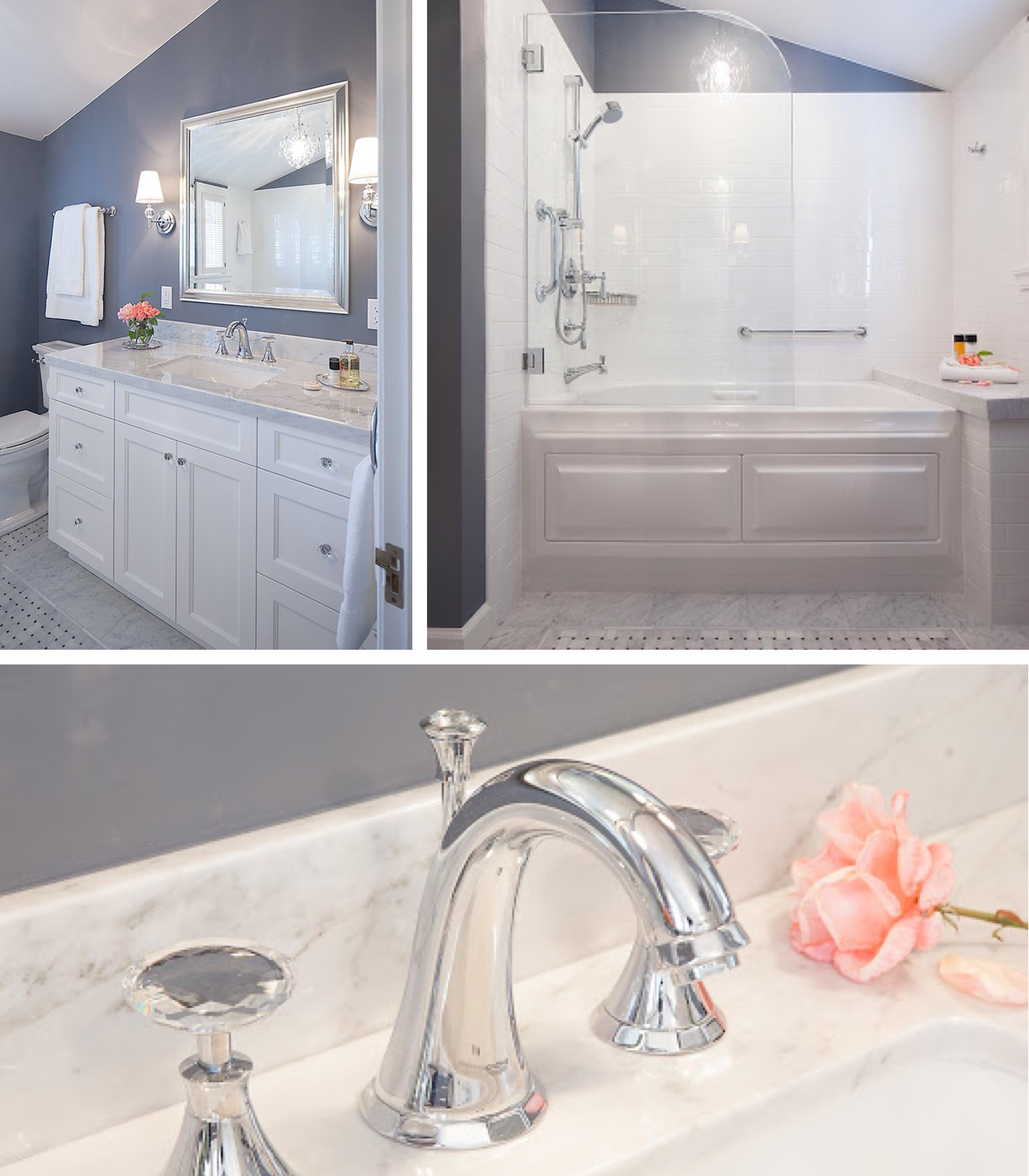 Luxury Bathroom Remodels in the East Bay - Harmoni Frameless Cabinetry - Pivoting Shower Screen - Carrara Marble Countertop - Bathroom - Custom Kitchens
