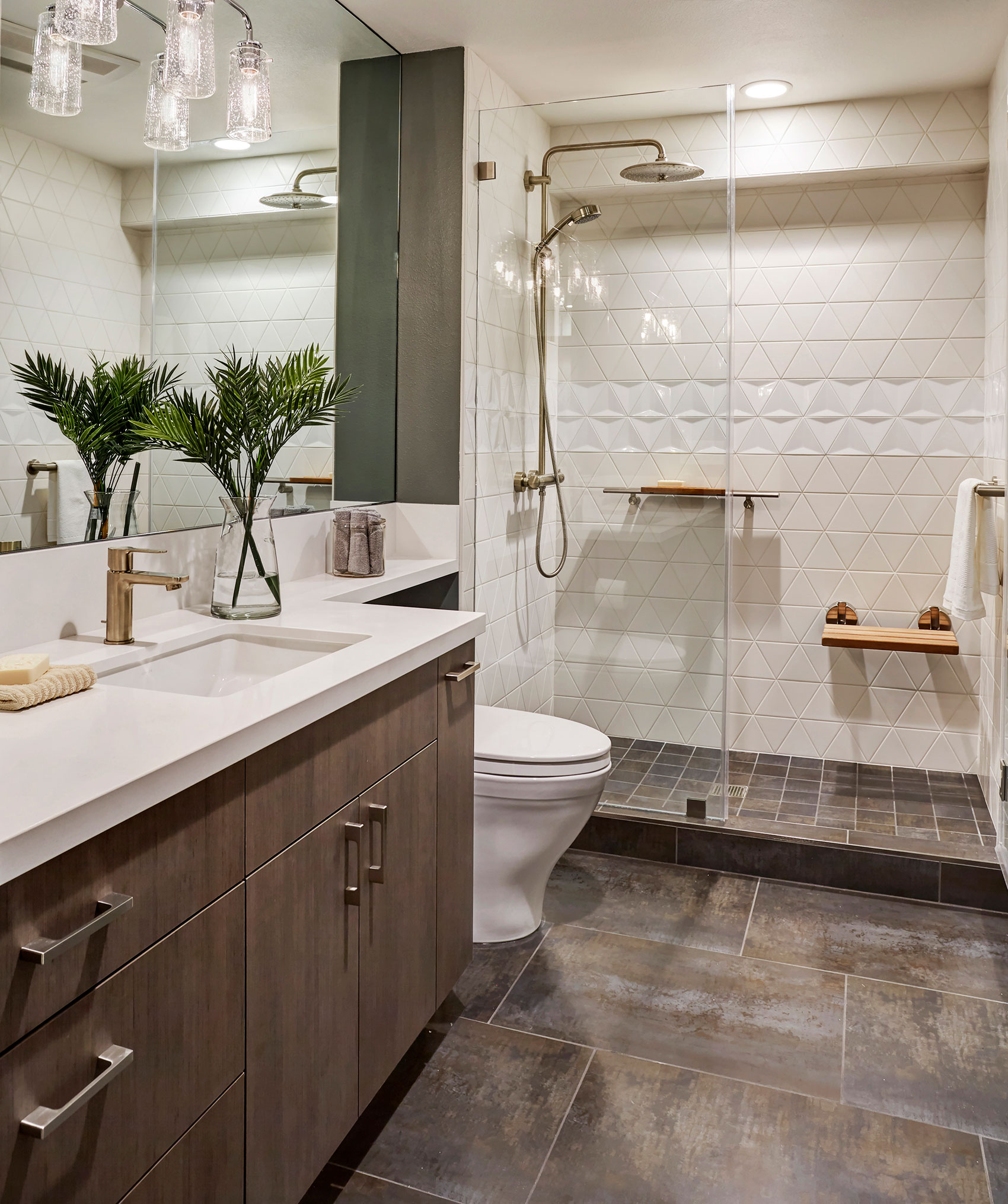 Upscale Bathroom Remodeling Trends East Bay California - Geometric Shapes and Balance - Emeryville Condo Remodel - Custom Kitchens by John Wilkins
