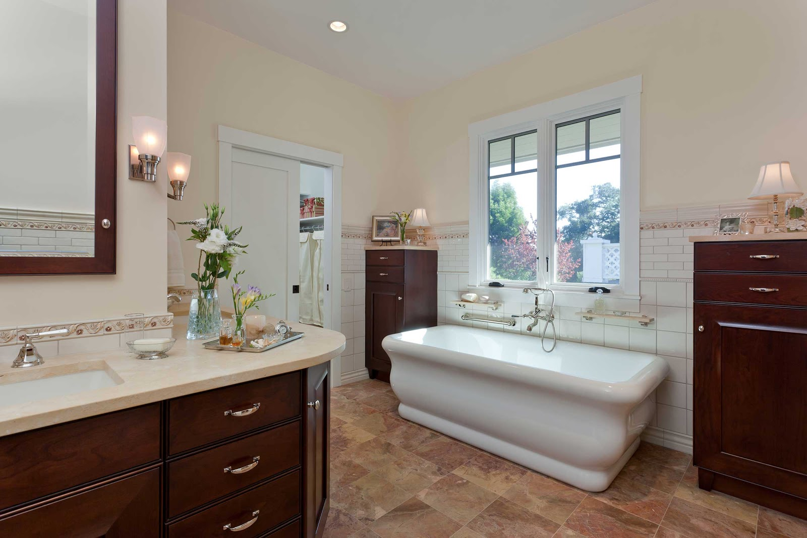 Luxury Bathroom Remodels in the East Bay - Custom Dark Cherry Cabinetry - Master Bathroom - Custom Kitchens