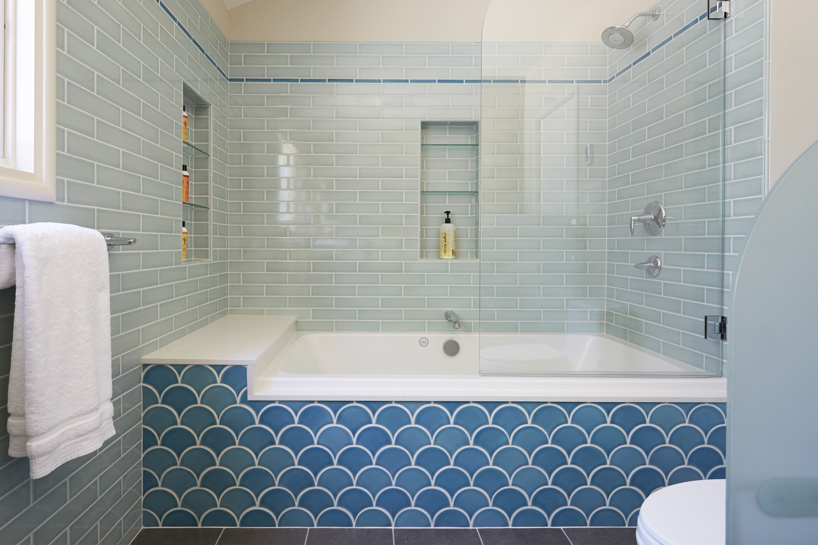Luxury Bathroom Remodels in the East Bay - Fishscale Fireclay tile - Bathroom - Custom Kitchens