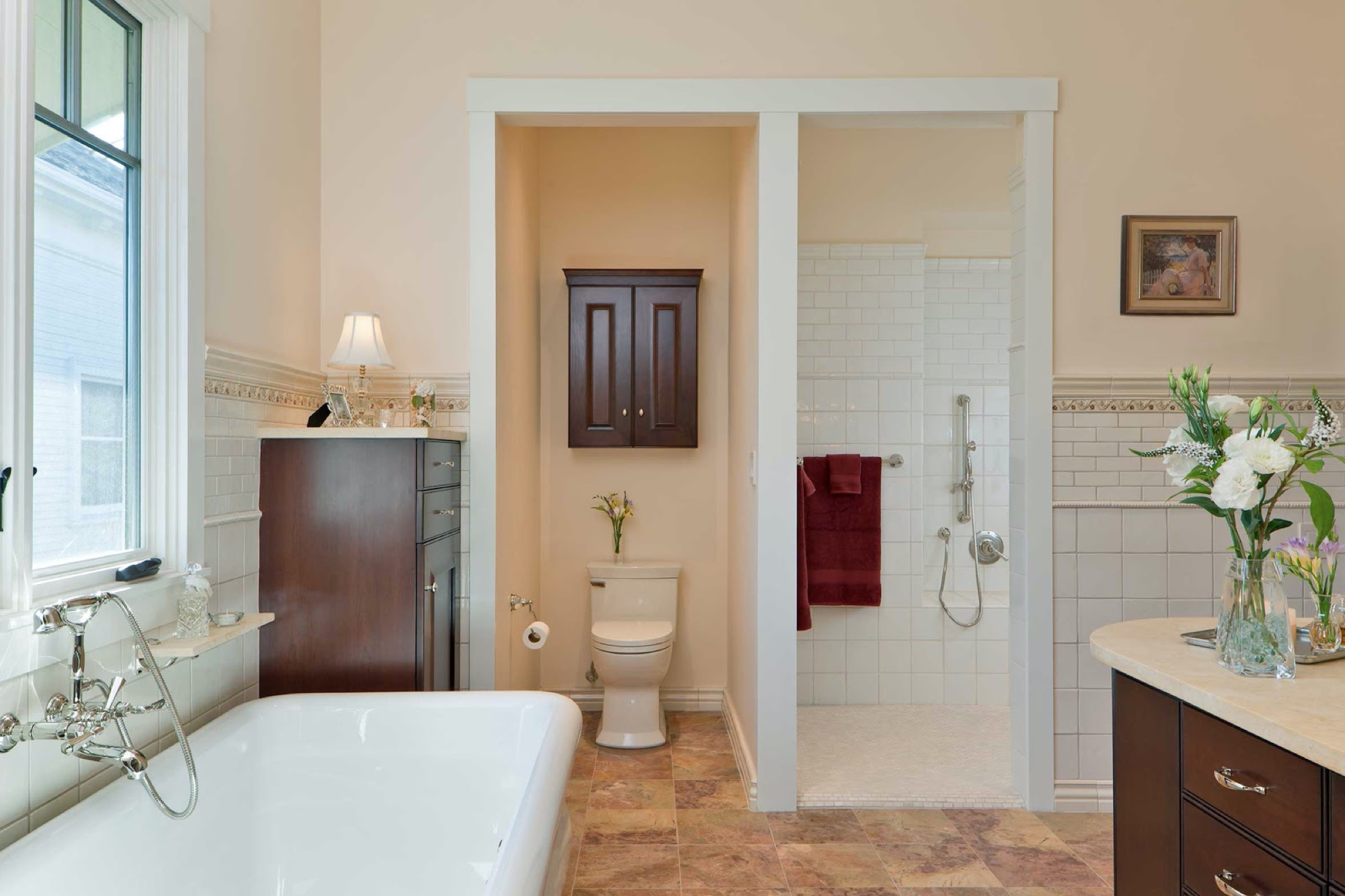 Luxury Bathroom Remodels in the East Bay - Rectangular Wall Tile - Master Bathroom - Custom Kitchens