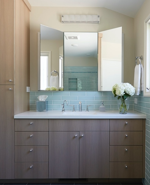 Luxury Bathroom Remodels in the East Bay - White Oak Frameless Cabinetry - Bathroom - Custom Kitchens